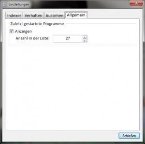 AppStarter.NET Einstellungen - Chronik
